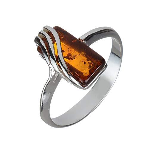 Baltic Honey Amber Ring - HolidayGiftShops Sterling Silver and Baltic Honey Amber Ring Ninelle Size: 7
