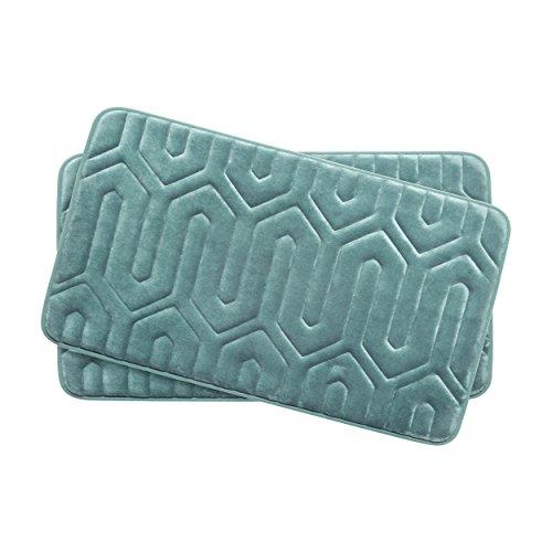 Bounce Comfort Extra Thick Memory Foam Bath Mat Set - Thea Premium Plush 2 Piece Set with BounceComfort Technology, 17 x 24 in. Marine Blue -  YMF Carpets Inc., YMB003721