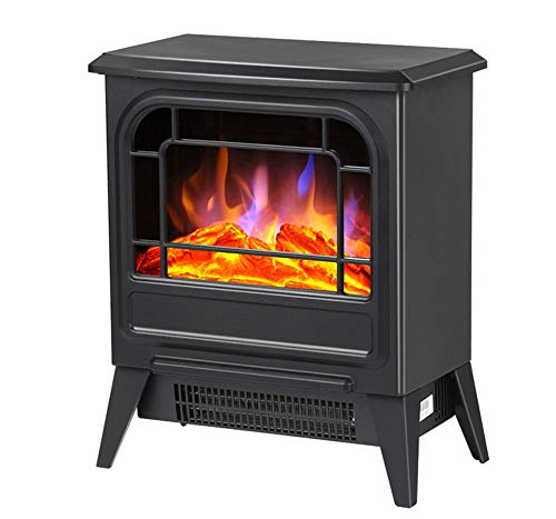 Cheap YXIUER Electric Stove Heater Fireplace with Wood Burning 3D Flame Effect and 2 Heat Settings - Portable Free Standing Space Heater 1800W - Black L Black Friday & Cyber Monday 2019