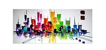 Amazon.com: Santin Art-Colorful City-Modern Abstract Oil Painting ...