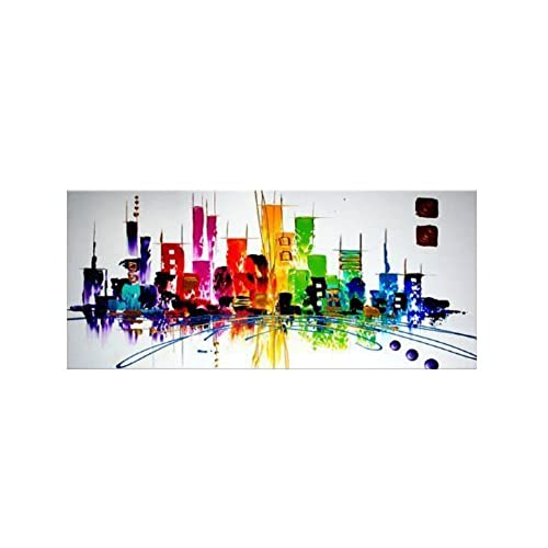 Santin Art Colorful City Modern Abstract Oil Painting Wall Decorations On Canvas Home Decor CitySpace Color