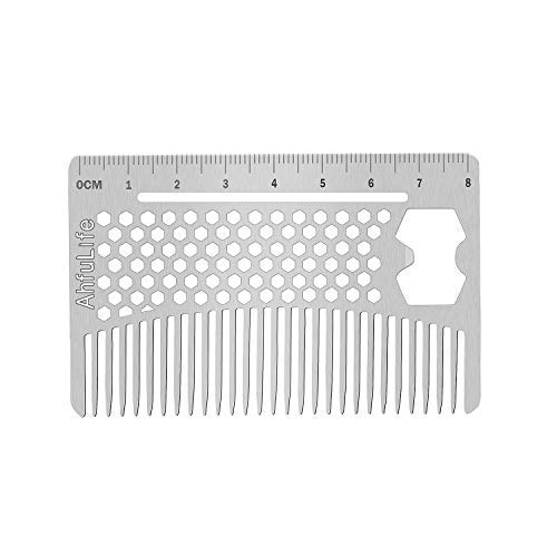 Stainless Steel Metal Hair&Beard Comb - Anti-Static Dual Action Beard Comb - Credit Card Size Comb Perfect for Wallet and Pocket - Presented in Gift Box (Multifunctional Metal Comb)