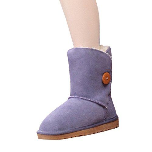 Fur Winter fereshte Leather Unisex Boots 7 Printing Trim Genuine Purple Multiful Flower 5ZxCRq68xw