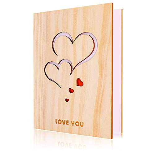 Love Greeting Card Handmade Nature Pine Wood LOVE YOU Valentines Day Anniversary Greeting Card with Unique Gift Box