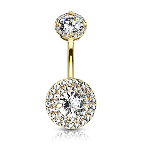 Inspiration Dezigns Double Tier Paved CZ Around Large CZ with Internally Threaded Matching Top 316L Surgical Steel Belly Rings (Gold/Clear)
