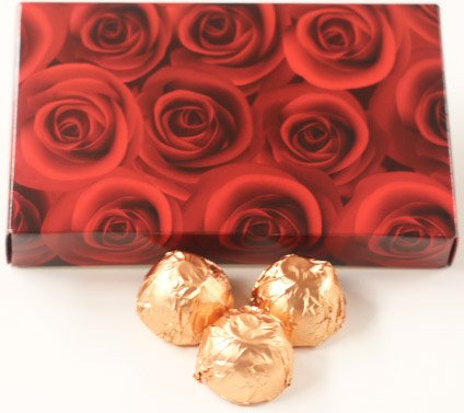 Scott's Cakes White Chocolate Orange Liqueur Italian Butter Cream Candies with Peach Foils in a 1 Pound Red Roses Box