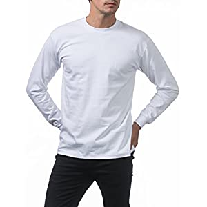 Pro Club Men's Heavyweight Cotton Long Sleeve Crew Neck T-Shirt, 3X-Tall, Snow White
