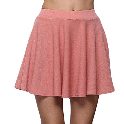Fathoit Jupe Dentelle Ete Short Femme,Jupe Mi-Longue PlissE  Taille Haute pour Femmes Rose