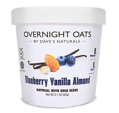 (Overnight Oats by Dave's Naturals, Blueberry Vanilla Almond Oatmeal Cup, Box of 8, Healthy Breakfast, With Chia Seeds and Gluten Free Whole Grain Oats)