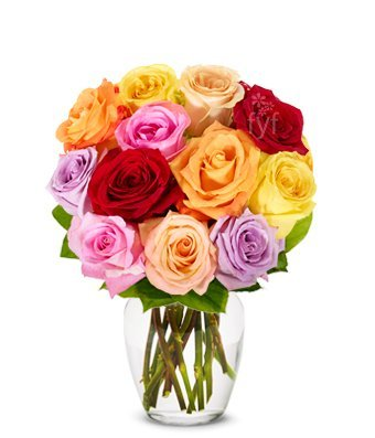 From You Flowers - One Dozen Rainbow Roses (Free Vase Included)