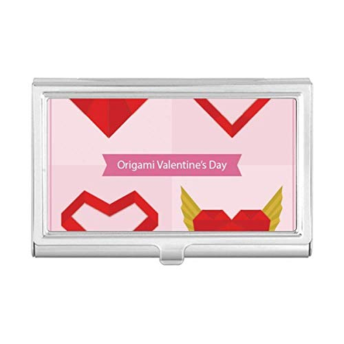Red Abstract Christmas Heart Origami Business Card Holder Case Wallet (Origami Heart Card)