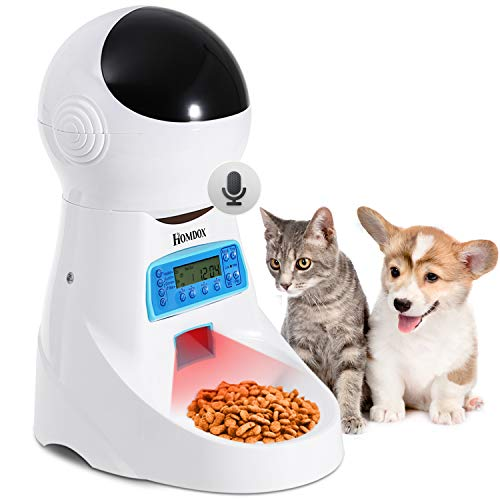 Automatic Cat Feeder Auto Pet Food Dispenser with LCD Display,Voice Record Remind, Timer Programmable, Portion Control for Cat and Medium or Small Dog, 4 Meals a Day
