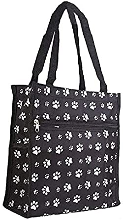 Small Quilted Purse Black with white pawprints