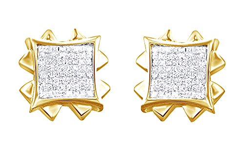 14K Solid Yellow Gold Round Cut White Natural Diamond Hip Hop Stud Earrings (1.66 Cttw) by wishrocks
