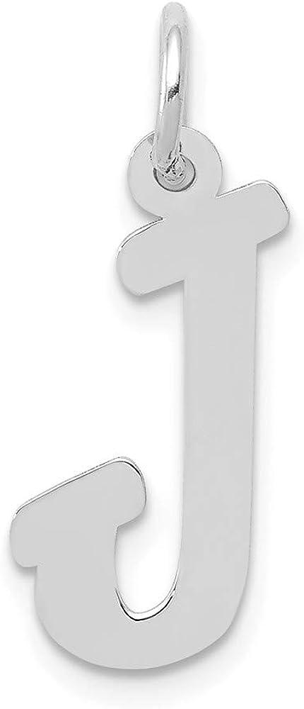 Width 10 to 13 14k White Gold Medium Script Initial E Charm
