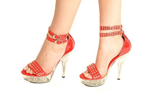 Michele X of London Sandalias de Tacón Alto DE 15.2cm de PVC Color Rojo con Plataforma Transparente y Detalle de Tachones Decorativos Para Dama - Tallas US 6, 7, 8, 9, 10