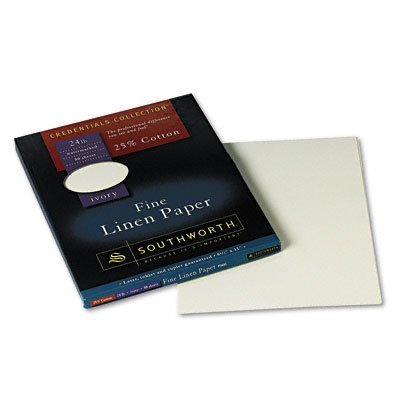 Credentials Collection® Linen 25% Cotton Paper, 8 1/2x11, Ivory, 80 Sheets/Pack (SOUP564C) Category: Specialty Paper and Card Stock