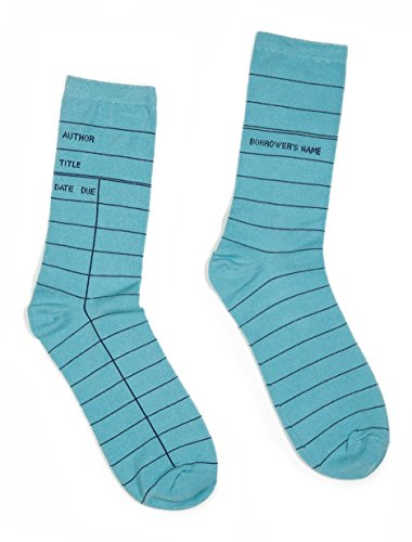 Out of Print Unisex Library Card Socks Small Blue
