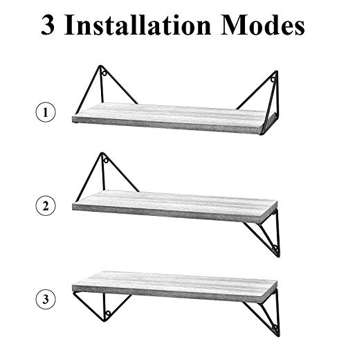 BAYKA Floating Shelves Wall Mounted Set of 3, Rustic Wood Wall Shelves for Living Room, Bedroom, Bat - http://coolthings.us