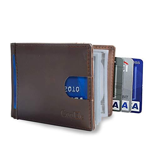Wallet for Men, CooElc Mens Genuine Leather RFID Blocking Bifold Wallet