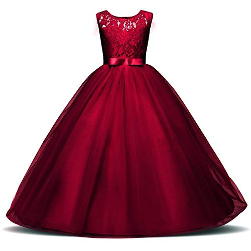 Weileenice 3-16Y Big Girls Lace Bridesmaid Dress Dance