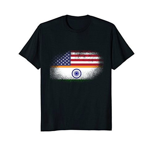 Half American Half Indian T Shirt India USA Flag Heritage ()