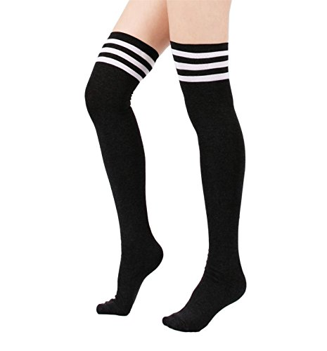 Peek A-boo Bow (Spring fever Womens Cotton Vertical Stripe Tube Over Knee Thigh High Stockings Black)