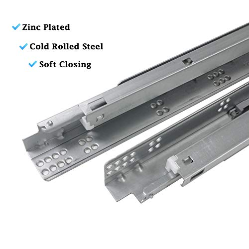 10 Pair 21'' Undermount Drawer Slides Soft Close Full Extension Drawer Rails, Mounting Screws and Adjustable Locking Device Included, 85 lb Load Capacity, Zinc Plated Cold Rolled Steel by Knobonly (Image #2)