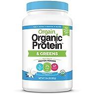 Orgain Organic Plant Based Protein & Greens Powder, Vanilla Bean - Vegan, Dairy Free, Gluten Free, Lactose Free, Soy Free, Low Sugar, Kosher, Non-GMO, 1.94 Pound (Packaging May Vary)