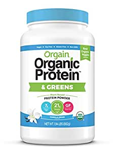 Orgain Organic Plant Based Protein & Greens Powder, Vanilla Bean - Vegan, Dairy Free, Gluten Free, Lactose Free, Soy Free, Low Sugar, Kosher, Non-GMO, 1.94 Pound (Packaging May Vary)