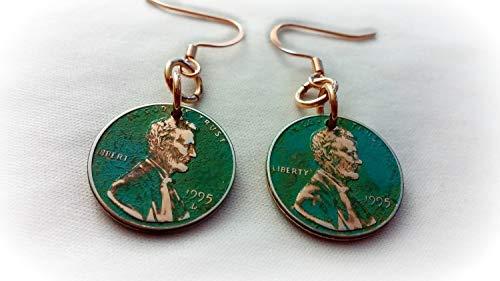 Custom Green Patina Copper Penny Earrings