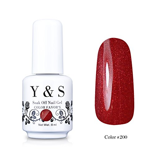 Yaoshun Gelpolish, Soak-off (Gel Nail Polish) UV LED Nail Art/Beauty Care Holographic Glitter Red Wine Red Color 8ml -#200 Red Nail Art For Christmas