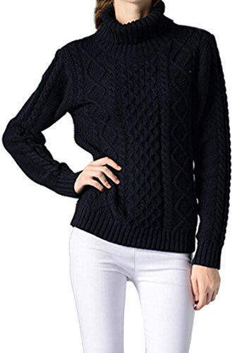 Sovoyant Women's Casual High Neck Long Sleeve Knit Pullover Sweater Top Navy - Knit Winter Sweater