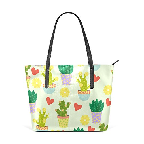 Handle Hearts Purses Leather Top Fashion Handbag PU And Shoulder Bags Totes Flowers TIZORAX Women's Cacti SRnvqHnB