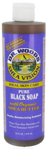 DR. WOODS NATURALS BLACK SOAP W/SHEA BUTTER, 16 FZ