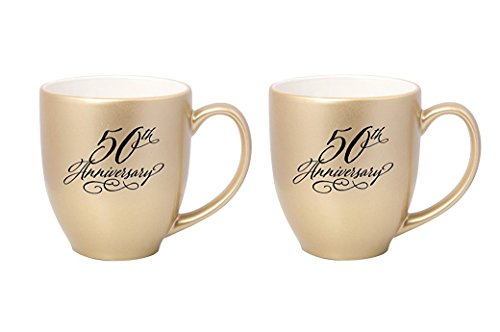 Set of 2 James Lawrence 50th Anniversary Metallic Gold Coffee Mugs