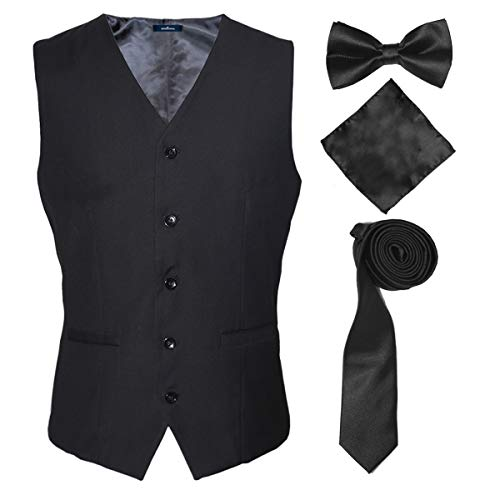 Mens Western-Style Clothes Vest Slim Fit Skinny Waistcoat for Meeting,Black,L]()