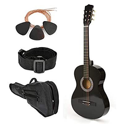 "NEW! 38"" Left Handed Black Wood Guitar With Case and Accessories for Kids/Boys / Teens/Beginners"