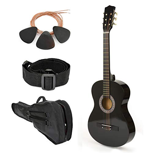 NEW! 38″ Left Handed Black Wood Guitar With Case and Accessories for Kids/Boys / Teens/Beginners