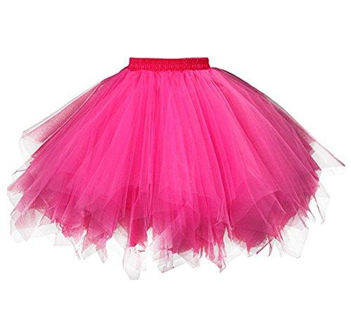 Kileyi Womens Tutu Costume Adult Party Dance Tulle Skirt Short Fluffy Petticoat Fuchsia S ()