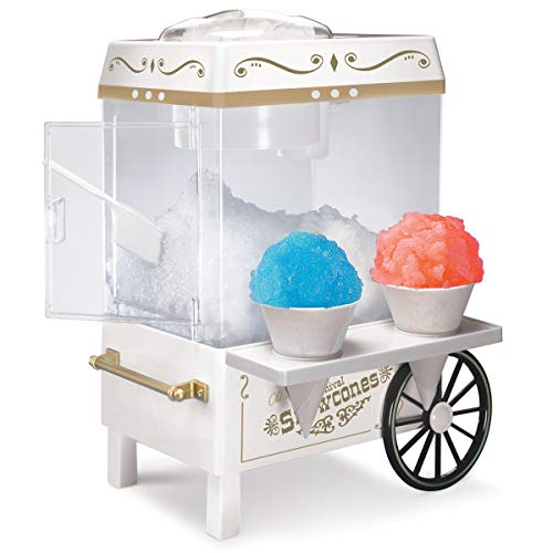 Nostalgia SCM525WH Vintage Countertop Snow Cone Maker Makes 20 Icy Treats, Includes 2 Reusable Plastic Cups & Ice Scoop - Ice White, 8 oz