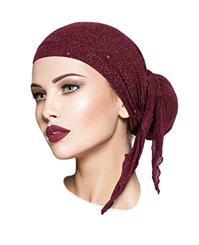 - ShariRose Pre-Tied Headscarf Tichel Headwear Head Cover for Women Sparkly Knit Collection! Handmade (Burgundy red Gold Long)