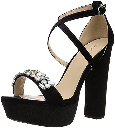 Qupid Women's Platform Sandal Heeled, Black Velvet, 8.5 M US