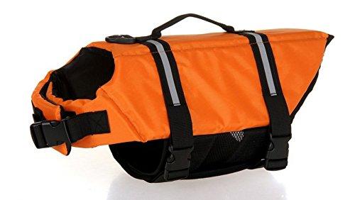Dog Saver Life Jacket Reflective Pet Preserver Multi-Size Aquatic Safety Vest Suitable for Summer Beach(Orange,Medium)