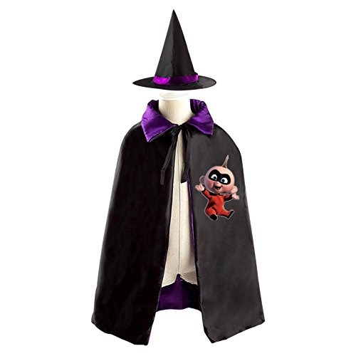 Narrator Costume For Girls (Children Incredibles Boys' Baby Jack Halloween Christmas Cape With Hat Witch Cloak Costume Props)