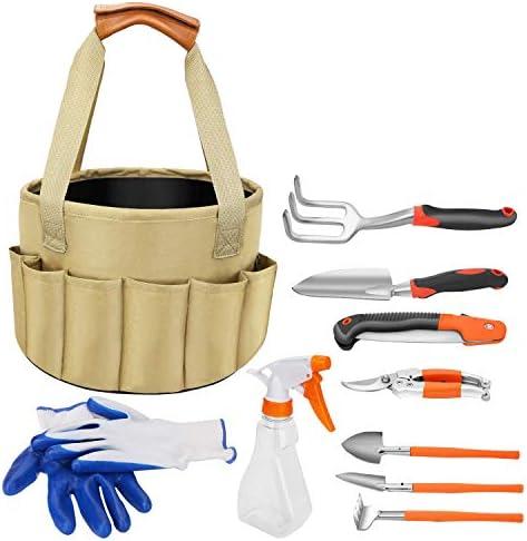 Garden Tool Set, 10 Piece Heavy Duty Gardening Tools with Gardening Rake ,Shovel, Pruner ,Pruning Saw ,Gloves, Sprayer,Tote bag with Garden Tool Organizer for Kid Women Gardening Gift