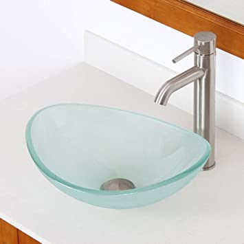 ELITE Unique Oval Frosted Tempered Bathroom Glass Vessel Sink U0026 Brushed  Nickel Single Lever Faucet Combo