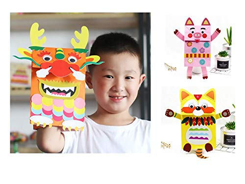 Boxwinds 3 Pack Paper Bag Puppets Children's Gift Kindergarten Hand-Paste Making Materials DIY Handmade Paper Bag Monsters]()