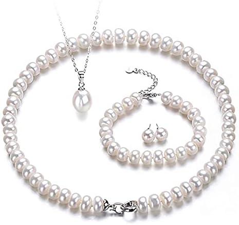Pulsera Conjuntos De Joyas Para Mujeres Joyería Fina 8-9 Mm Collar De Perlas De Agua Dulce Real Pulsera Pendiente Anillo Colgante