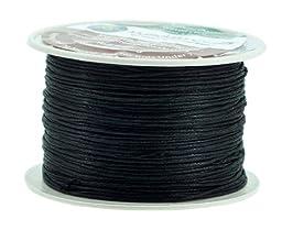 Mandala Crafts 1mm 109 Yards Jewelry Making Beading Crafting Macramé Waxed Cotton Cord Thread (Black)